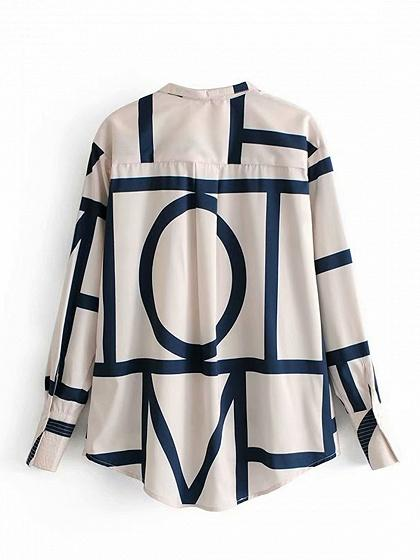 White Cotton Geo Pattern Print Long Sleeve Chic Women Shirt