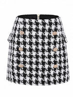 Black Cotton Houndstooth Print High Waist Mini Skirt