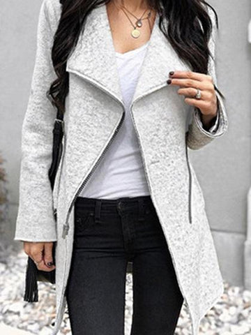 Gray Lapel Zip Front Long Sleeve Wool Blend Coat