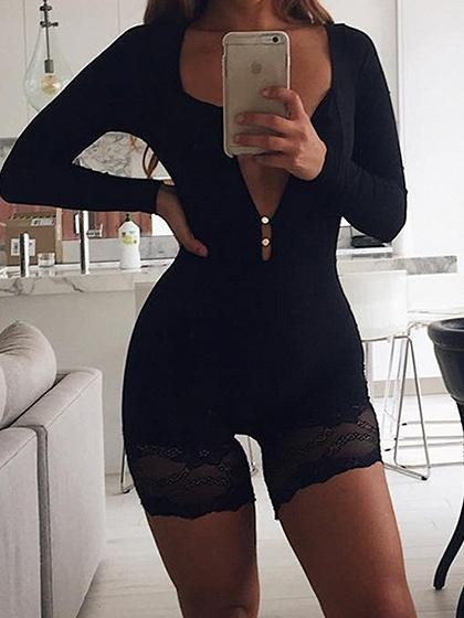 Black Plunge Lace Trim Long Sleeve Women Bodysuit