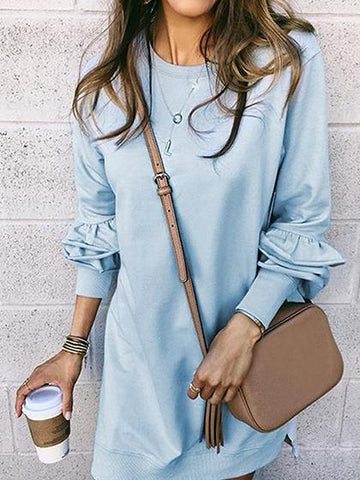 Light Blue Layered Ruffle Trim Mini Dress