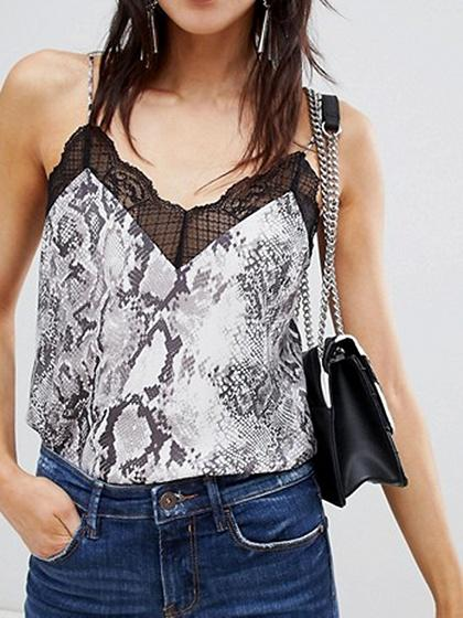 Gray V-neck Snakeskin Print Lace Trim Women Cami Top