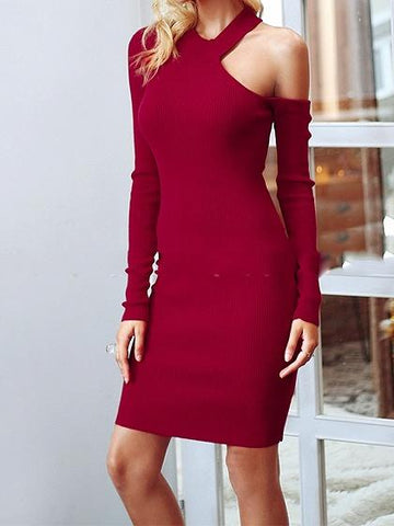 Red Cold Shoulder Long Sleeve Knit Bodycon Mini Dress