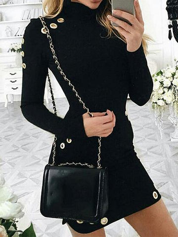Black High Neck Eyelet Detail Long Sleeve Knit Bodycon Mini Dress