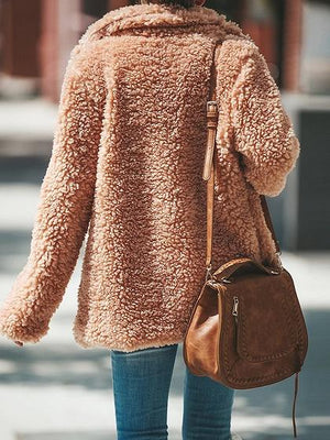 Beige Cotton Lapel Long Sleeve Chic Women Fluffy Coat