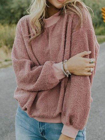 Pink Crew Neck Long Sleeve Women Fluffy Sweatshirt