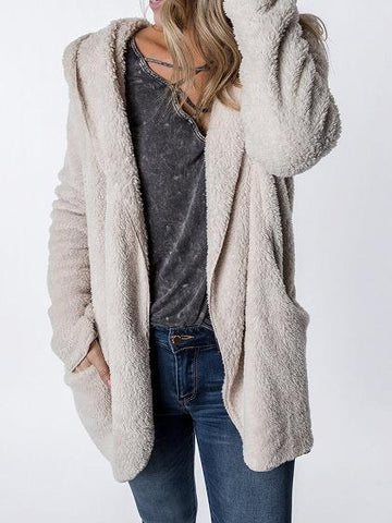 Beige Pocket Detail Long Sleeve Women Fluffy Hooded Coat