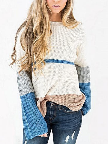 White Contrast Panel Long Sleeve Women Knit Sweater