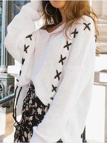 White Cold Shoulder Lace Up Detail Long Sleeve Knit Sweater
