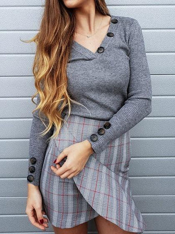 Gray Ribbed V-neck Button Detail Long Sleeve Sweater