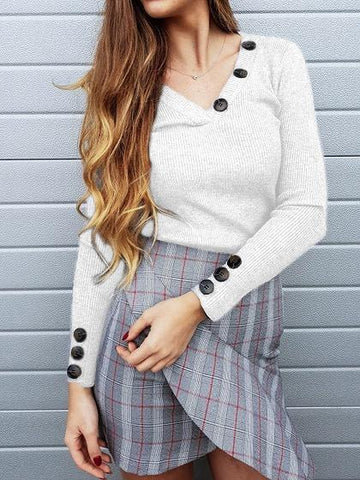 White Ribbed V-neck Button Detail Long Sleeve Sweater