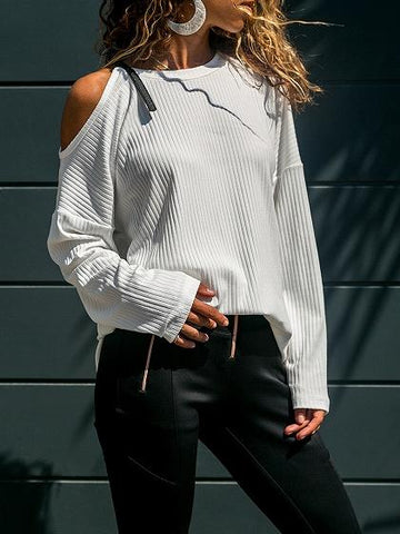 White Ribbed Cold Shoulder Buckle Strap Long Sleeve Sweater