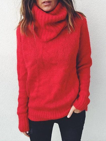 Red High Neck Long Sleeve Knit Sweater