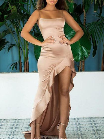 Khaki Satin Look Spaghetti Strap Ruffle Trim Hi-Lo Party Dress