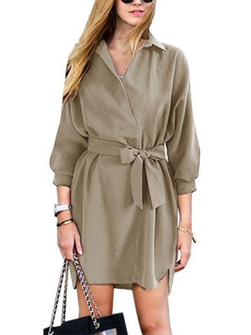 Khaki Tie Waist 3/4 Sleeve Dipped Hem Shirt Dress