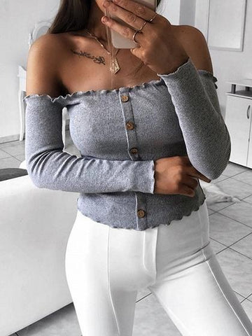 Gray Ribbed Off Shoulder Button Placket Front Long Sleeve Sweater