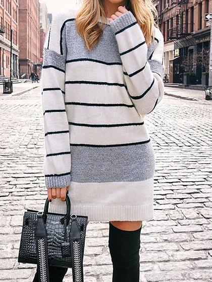 White Stripe Contrast Panel Long Sleeve Knit Mini Dress