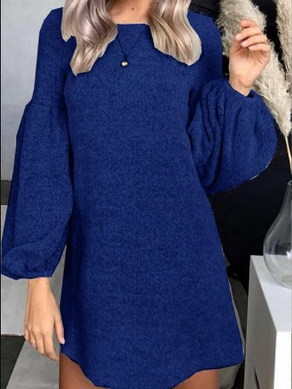 Dark Blue Puff Sleeve Women Knit Mini Dress