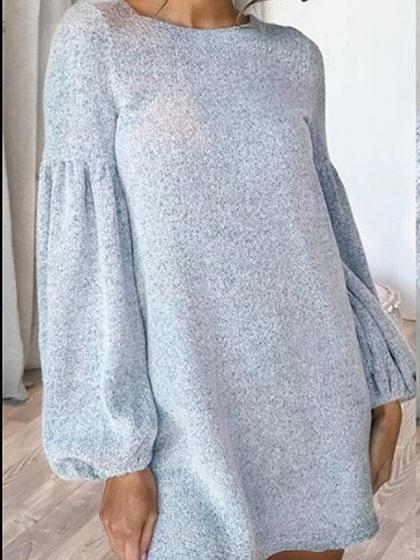 Gray Puff Sleeve Women Knit Mini Dress
