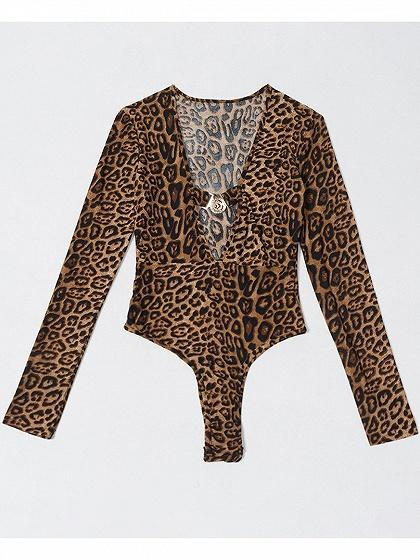 b244b09dd15c Brown Plunge Leopard Print Long Sleeve Women Bodysuit – chiclookcloset