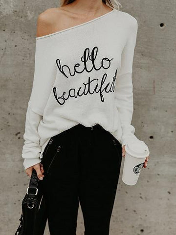 White Asymmetric Neck Letter Print Long Sleeve Women Sweater