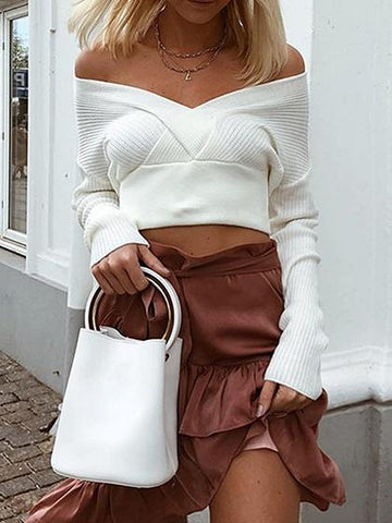 White Cold Shoulder V-neck Long Sleeve Women Knit Crop Sweater