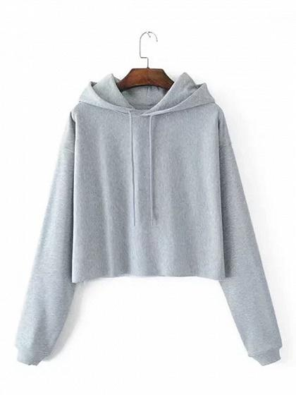 Gray Cotton Blend Long Sleeve Women Crop Hoodie