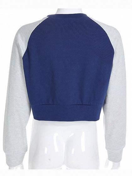 Blue Cotton Blend Letter Print Long Sleeve Women Crop Sweatshirt