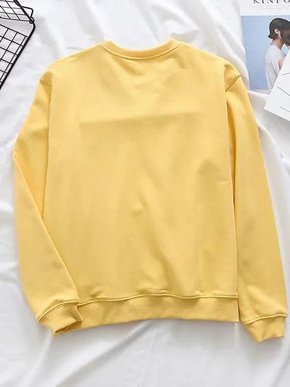 Yellow Cotton Letter Embroidery Long Sleeve Women Sweatshirt