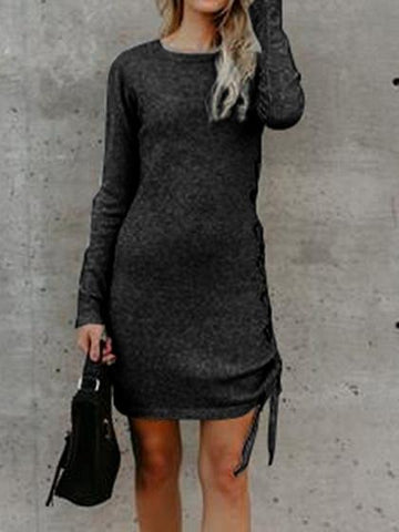 Dark Gray Cotton Eyelet Lace Up Side Long Sleeve Women Mini Dress