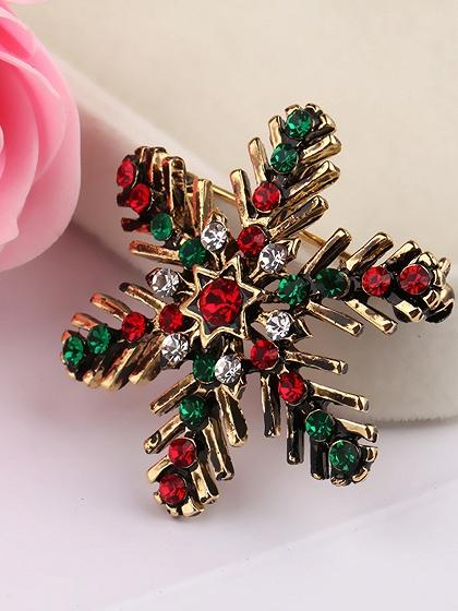 Polychrome Rhinestone Embellished Christmas Snow Shape Brooch