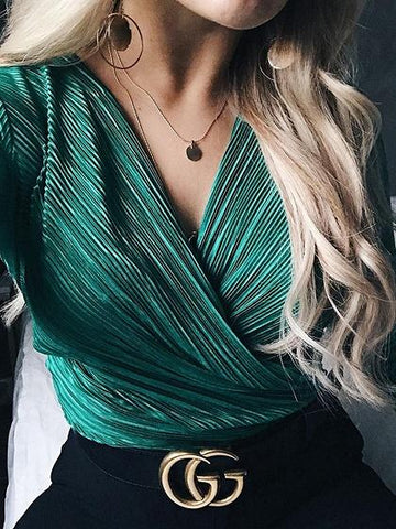 Green V-neck Ruched Detail Long Sleeve Women Bodysuit