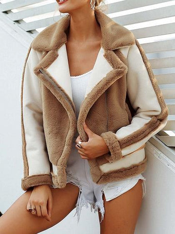 Khaki Lapel Pocket Detail Long Sleeve Women Faux Fur Fluffy Coat