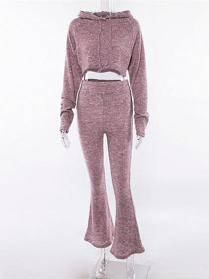 Purple Long Sleeve Crop Hoodie And High Waist Bell Bottom Pants