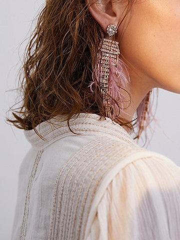 Pink Rhinestone Embellished Ostrich Feather Earrings