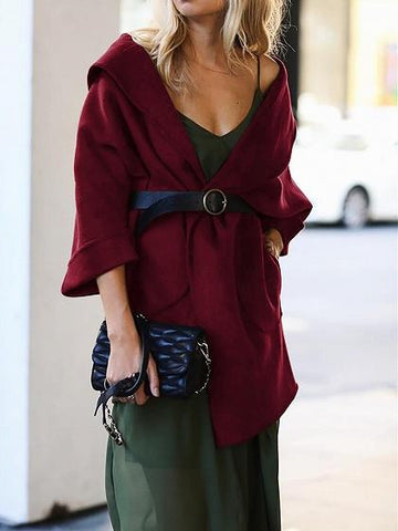 Burgundy Lapel Pocket Detail Women Wool Blend Coat
