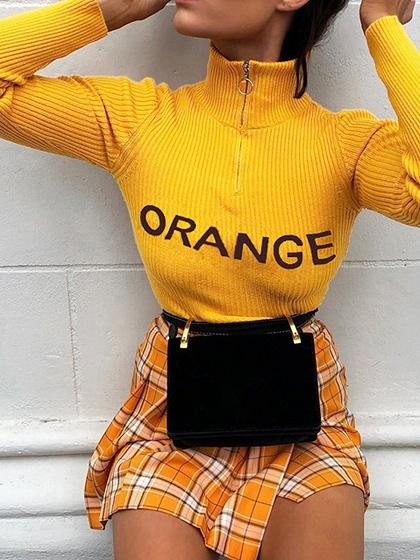 Yellow Ribbed High Neck Letter Print Long Sleeve Women Sweatshirt