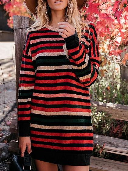 Red Contrast Stripe Long Sleeve Women Mini Dress