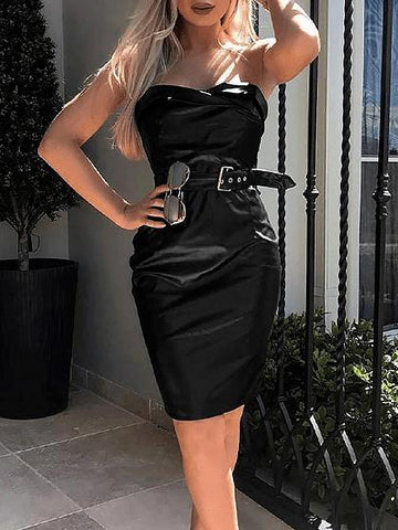 Black Bandeau Buckle Strap Waist Women PU Bodycon Mini Dress