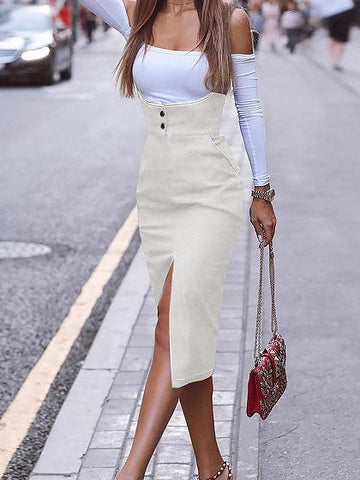 White Cotton Shoulder Strap Split Front Women Bodycon Dress