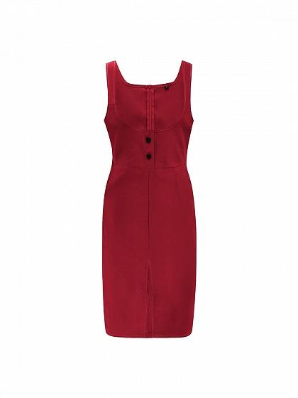 Red Cotton Shoulder Strap Split Front Women Bodycon Dress