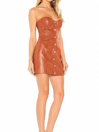 Orange Bandeau Button Placket Front Women PU Mini Dress