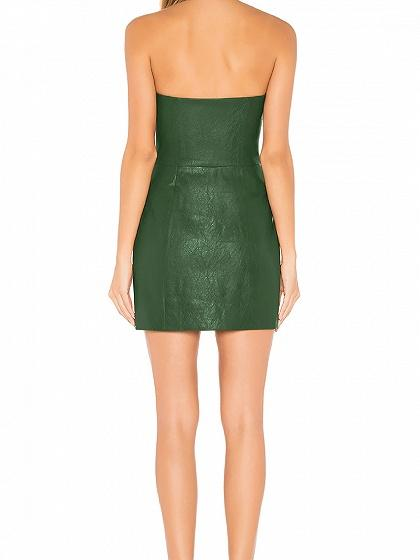 Green Bandeau Button Placket Front Women PU Mini Dress