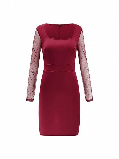 Burgundy Square Neck Sheer Mesh Panel Long Sleeve Bodycon Dress
