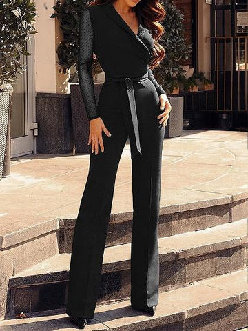 Black V-neck Polka Dot Print Panel Tie Waist Long Sleeve Jumpsuit