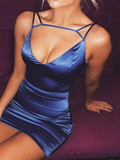 Blue V-neck Open Back Women Bodycon Cami Mini Dress