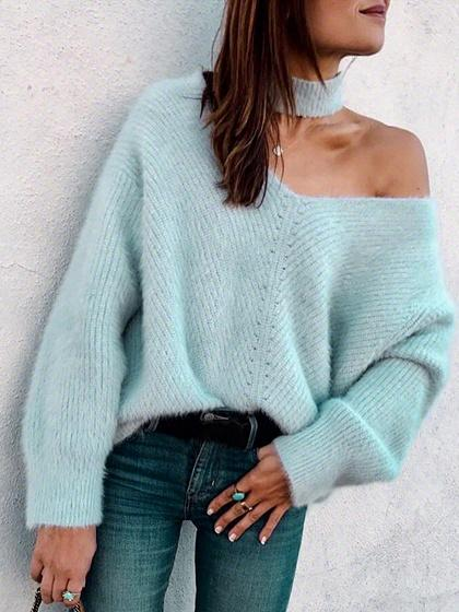 Blue Cold Shoulder V-neck Long Sleeve Women Sweater