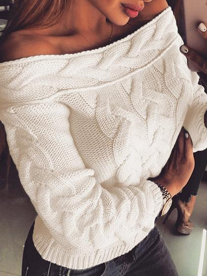 Beige Off Shoulder Long Sleeve Women Sweater