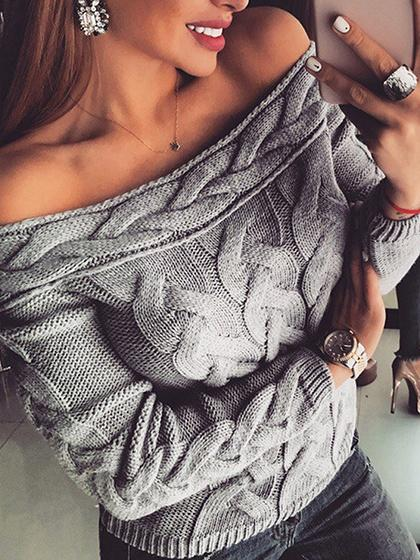 Gray Off Shoulder Long Sleeve Women Sweater