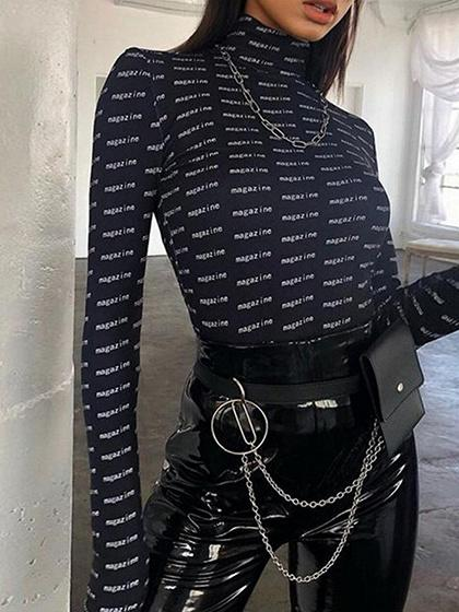 Black High Neck Letter Print Long Sleeve Women Bodysuit